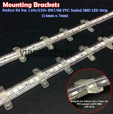 30pcs 14mm x7mm PVC Mounting Brackets for 110V 5050/3528 IP67/68 LED Strip Light