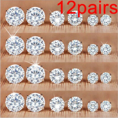 Jewellery - 12Pairs/Set Crystal Zircon Stainless Steel Earrings Sets Women Ear Stud Jewelry