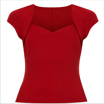 50s Rockabilly Red Peasant Tops V-neck Solid Cap Sleeve T Shirt For Women