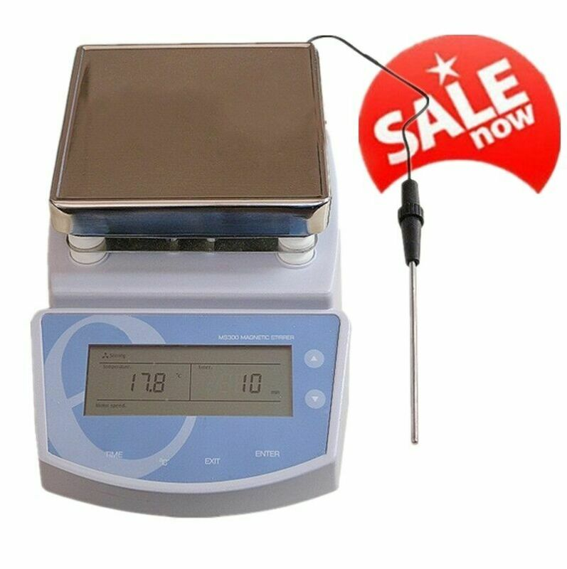 Hot Plate Magnetic Stirrer Electric Heating Mixer Temperature to 300℃ Lab Device