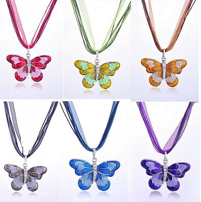 80s Women Fashion Butterfly Colorful Charms Sweater Long Chain Pendant Necklace