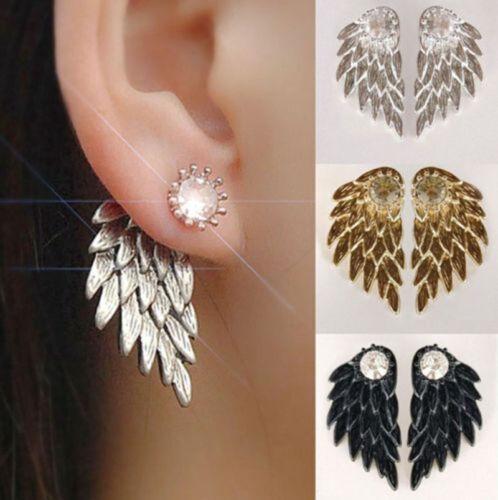 Women Angel Wing Rhinestone Personalized Gothic Earrings Front Back Stud Earring