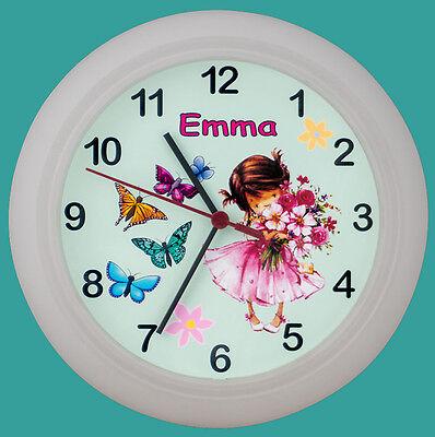 Kinderwanduhr Kinderuhr Wanduhr Kinder Uhr Prinzessin Schmetterlinge mit Namen