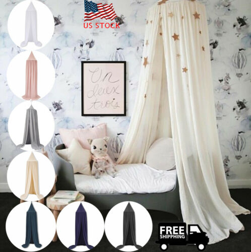 Kids Bed Canopy Round Dome Castle Play Tent Hanging Mosquito