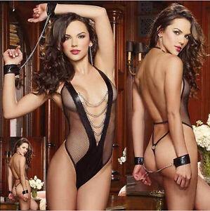 Fishnet-Vinul-Women-039-s-Lingerie-Dress-Underwear-Black-Babydoll-Sleepwear-Teddy