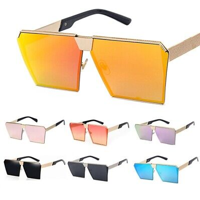 Oversized Flat Top Lens Square Sunglasses Men Women Fashion Metal Large Glasses