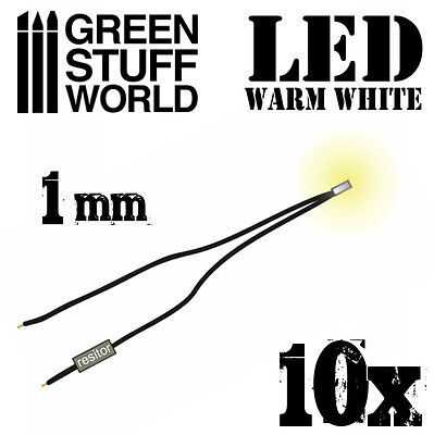 Micro Miniature Led (Warm WHITE micro LED Lights - 1mm - Scenery Miniature lighting train infinity )