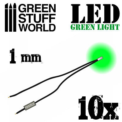 Micro Miniature Led (GREEN micro LED Lights - 1mm - Scenery Miniature lighting train infinity tiny )