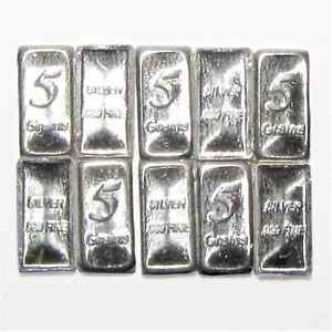 Lot-of-TEN-5-GRAIN-SOLID-SILVER-999-FINE-BULLION-BAR-COIN-Silver-INVEST
