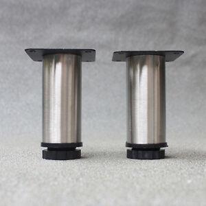 4 Pcs Furniture Cabinet Metal Legs Adjustable Table Feet Round Ebay