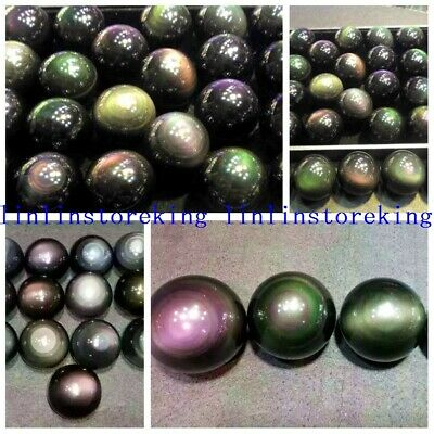 Natural Rainbow Obsidian Sphere Multicolor Flash Gemstone Crystal Ball