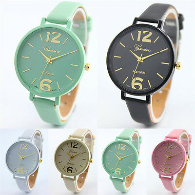 New Watch Women CasualL Faux Leather Analog Quartz Watch Fashion Wristwatches