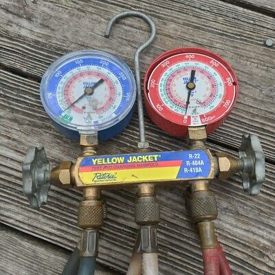 Ritchie Yellow Jacket Test Charging Manifold R-22 R-404a R-410a  4 Hoses
