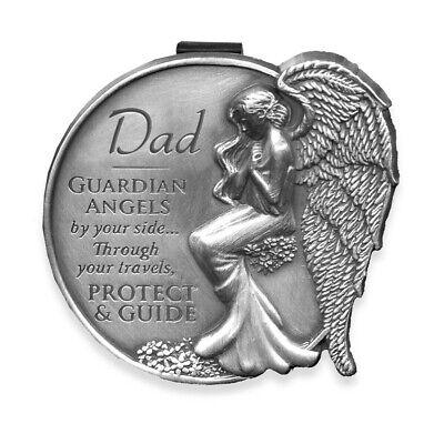 Dad Guardian Angel Pewter Auto Visor Clip
