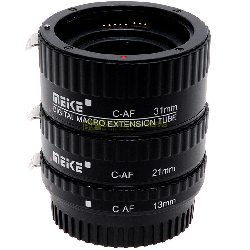 Kit 3 anelli di prolunga Meike per riprese macro coseup su Canon autofocus. Tubi
