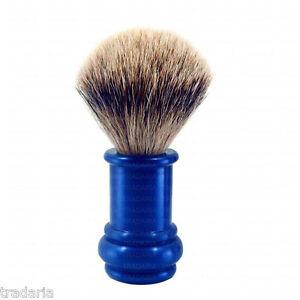100-PURE-BADGER-HAIR-WET-SHAVING-BRUSH-ALU-BLUE-METAL-RASIERPINSEL-BLAIREAUX