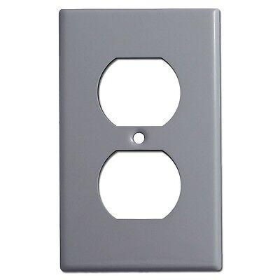10 pc Standard Duplex Receptacle 1-Gang Wall Plate Cover GRAY Grey Lexan Plastic Gang Receptacle Wall Plate