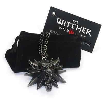 The Witcher Wild Hunt III Necklace Wolf Medallion 3 Head Chain Pendant Of Geralt (Three Headed Wolf)