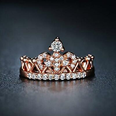 Royal Crown 925 Rose Gold Micro-inlay Cubic Zirconia Simulation Band Ring RS59