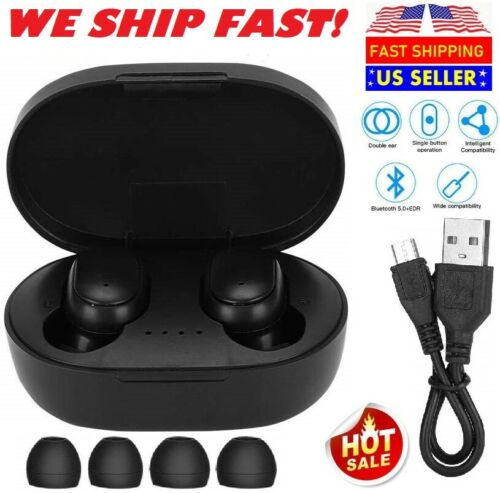 NEW Wireless Bluetooth Earbuds with Charging Case For iPhone Android Pods Black Cell Phone Accessories