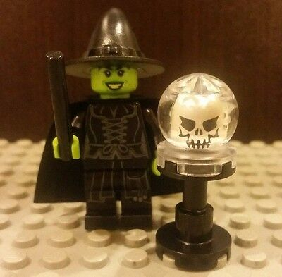 Lego NEW Halloween Black Robe/Pants WICKED WITCH MINIFIG w/ Crystal Ball - Halloween Lego