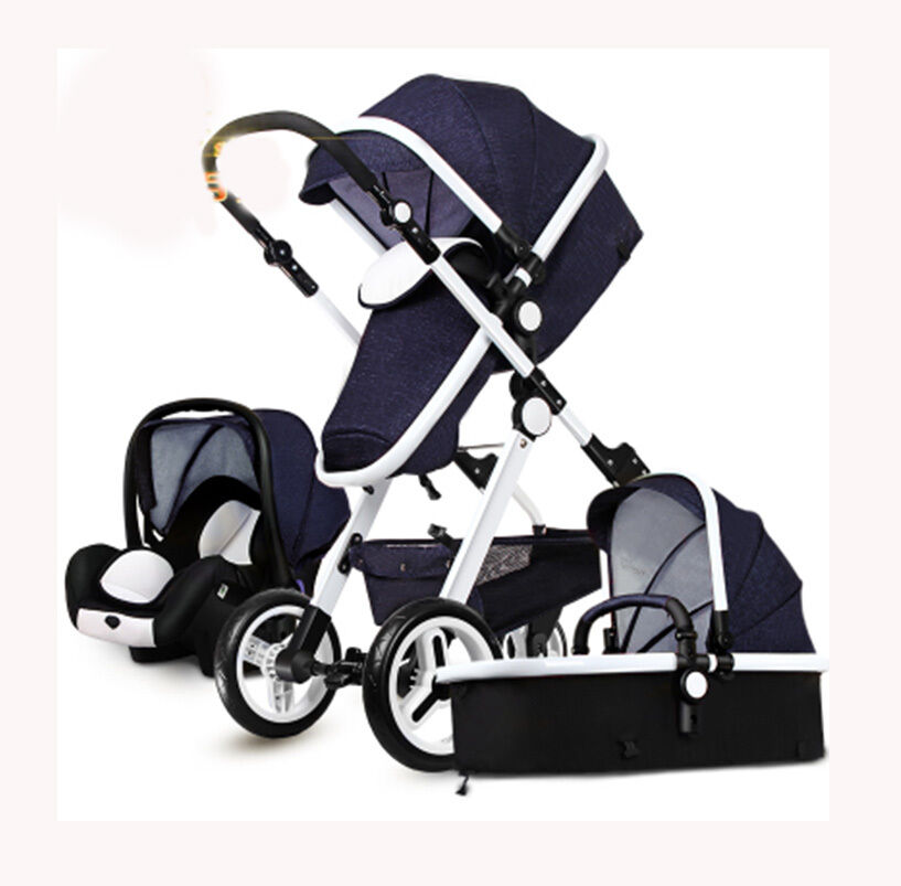 3 in 1 baby stroller high view foldable pushchair bassinet car seat ebay. Black Bedroom Furniture Sets. Home Design Ideas