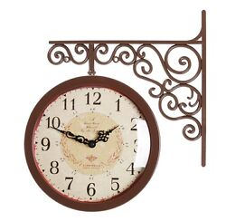 Antique Art Design Double Sided Wall Clock Station Clock Home Decor - CA(Brown)