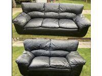 2 & 3 seater black sofas set same day deliver can be arranged