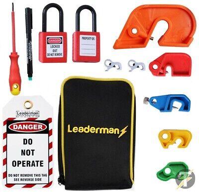 Leaderman Lom-k2 Lock Out Lockoff Kit Mcb Tag And Padlock Kit W Case