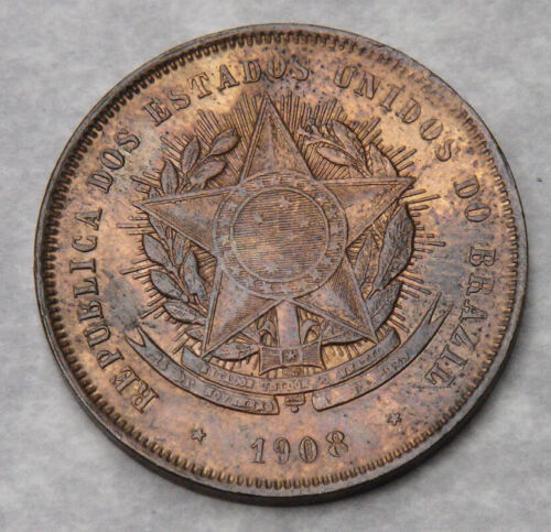 Brazil 20 Reis Coin 1908 - UNC