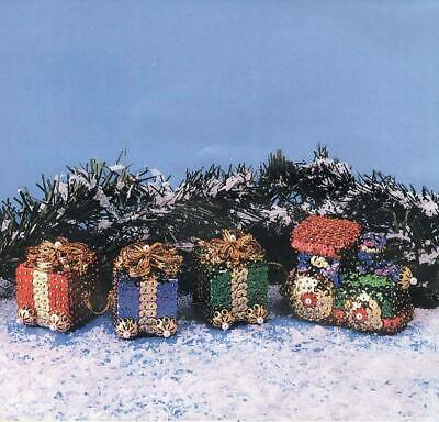 PRESENT TRADITIONS TRAIN & PRESENTS Set of 4 Beaded Sequin Ornaments Kit - NEW