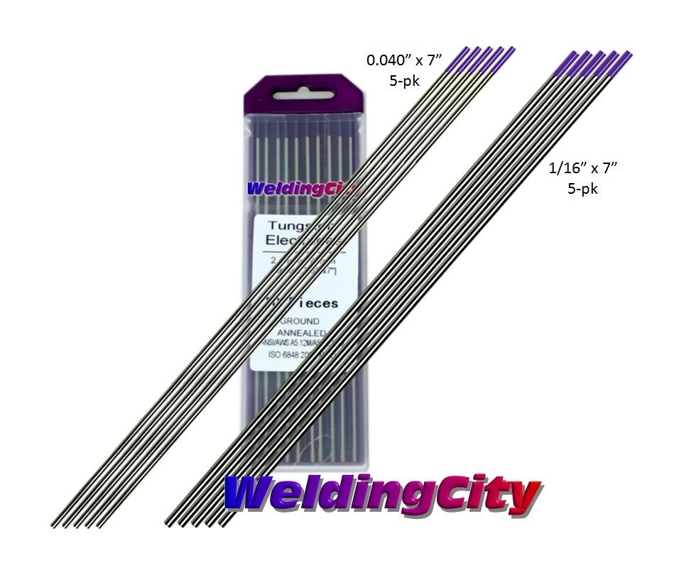 5 WeldingCity Pure and 1//16 5 Green Tungsten TIG Welding Electrodes Assorted Size 0.040