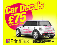 Car Van Stickers Decals from £75! Competetive prices at Printflex! From flyers up to Shop Sign!
