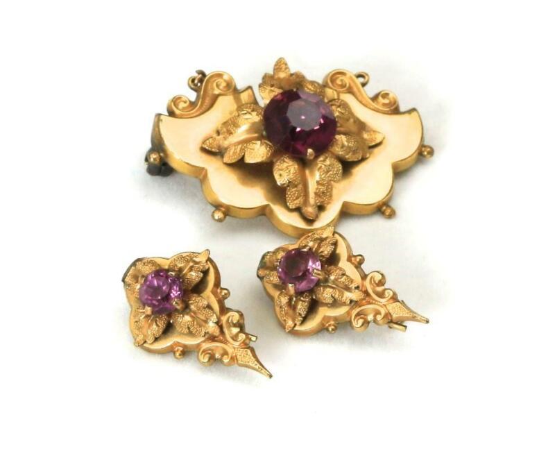 Vintage Art Nouveau Purple Rhinestone Gold Tone Brooch & Earring Set Suite
