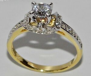 STUNNING 9 CT YELLOW GOLD & SILVER 0.75ct SOLITAIRE FANCY ENGAGEMENT RING size N