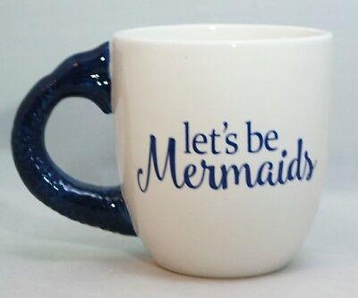 Mermaid Ceramic Blue Cup White Large Tail  20 oz Mug