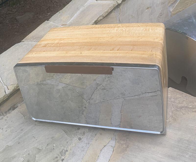 retro mid century MCM Lincoln Beauty Ware bread box Faux Wood Pie Shelf