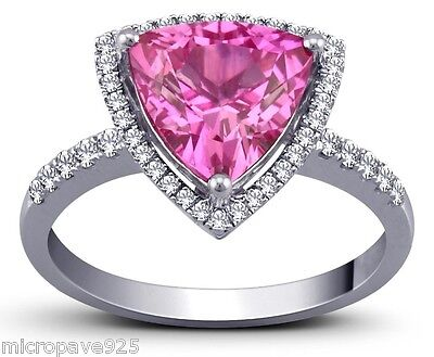 Created Pink Sapphire Trillion Shaped Solitaire Ring With Pave Setting Size 5