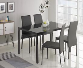 Black dining table and chairs set / brand new