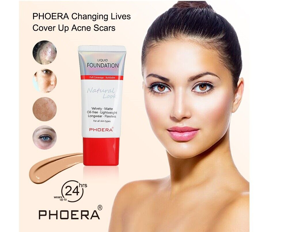 Phoera Flüssiges Make-Up Volle Deckung Samtig Matt Flawless Anhaltend Make-Up UK