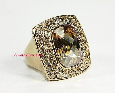 JUDITH LEIBER CABOCHON GOLD PLATED RING LARGE SWAROVSKI AMBER & CLEAR NEW SZ 7,5 Amber Gold Plated Ring