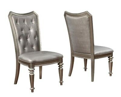 Danette Metallic Upholstered Dining Side Chair by Coaster 107312 - Set of 2 ()