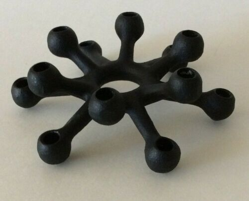 Vintage DANSK Iron Spider Taper Candle Holder Black 12-prong Denmark Modern