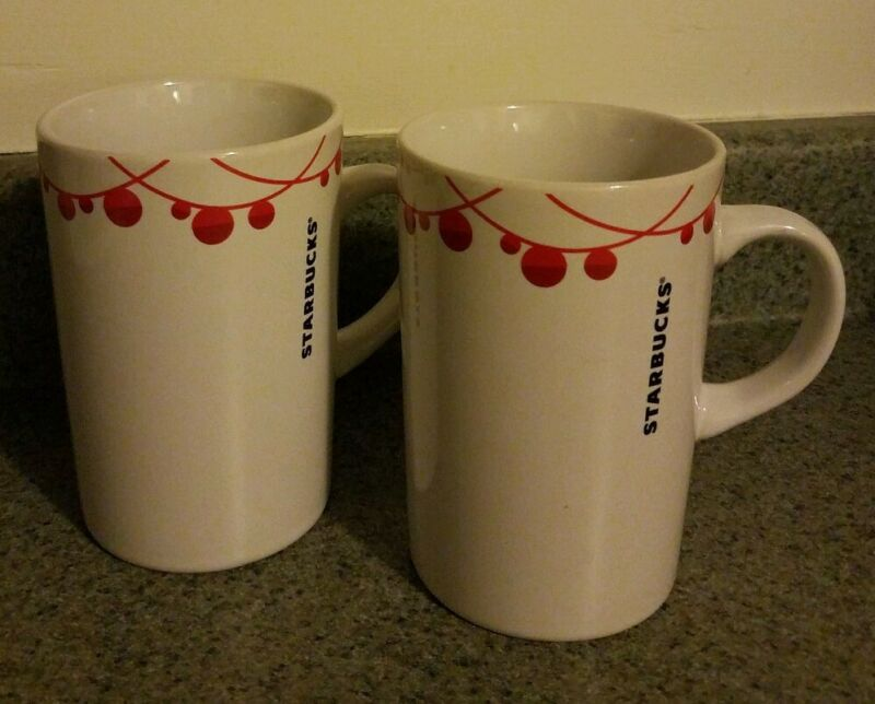 S/2 Starbucks Holiday Ornament Mugs White Red 10.8oz Microwave Safe