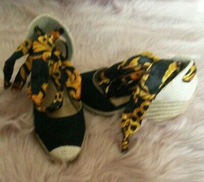 Versace Style/Inspired Black & Gold Chain Printed Women's Wedge Shoes-UK 4-NEW