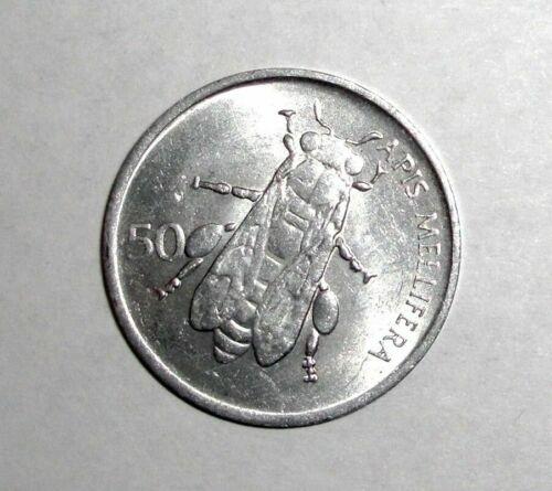 Slovenia 50 stotinov, Honey Bee, insect animal wildlife coin