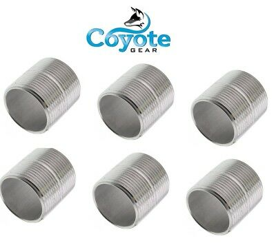 """6 Pack Lot 1/4"""" NPT X CLOSE 304 Stainless Steel Pipe Nipple Coyote Gear SS"""