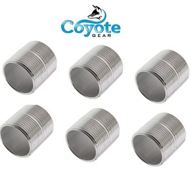 6 Pack Lot 38 Npt X Close 304 Stainless Steel Pipe Nipple Coyote Gear Ss