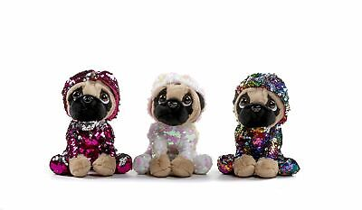 Sequin Flippable Glitter Pug Dogs in Costume 61/2