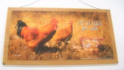 Fresh Eggs for Sale Rooster Country Kitchen Wooden Wall Art Sign chickens farm - Rooster For Sale